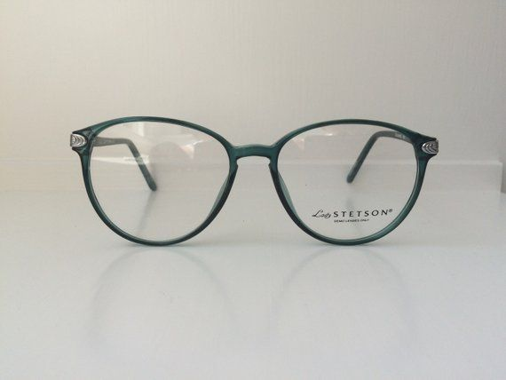 db258cc7de Vintage Mint Green Glasses - Oversized Cat Eyeglasses - Clear Lens Glasses  - Teal Silver Round