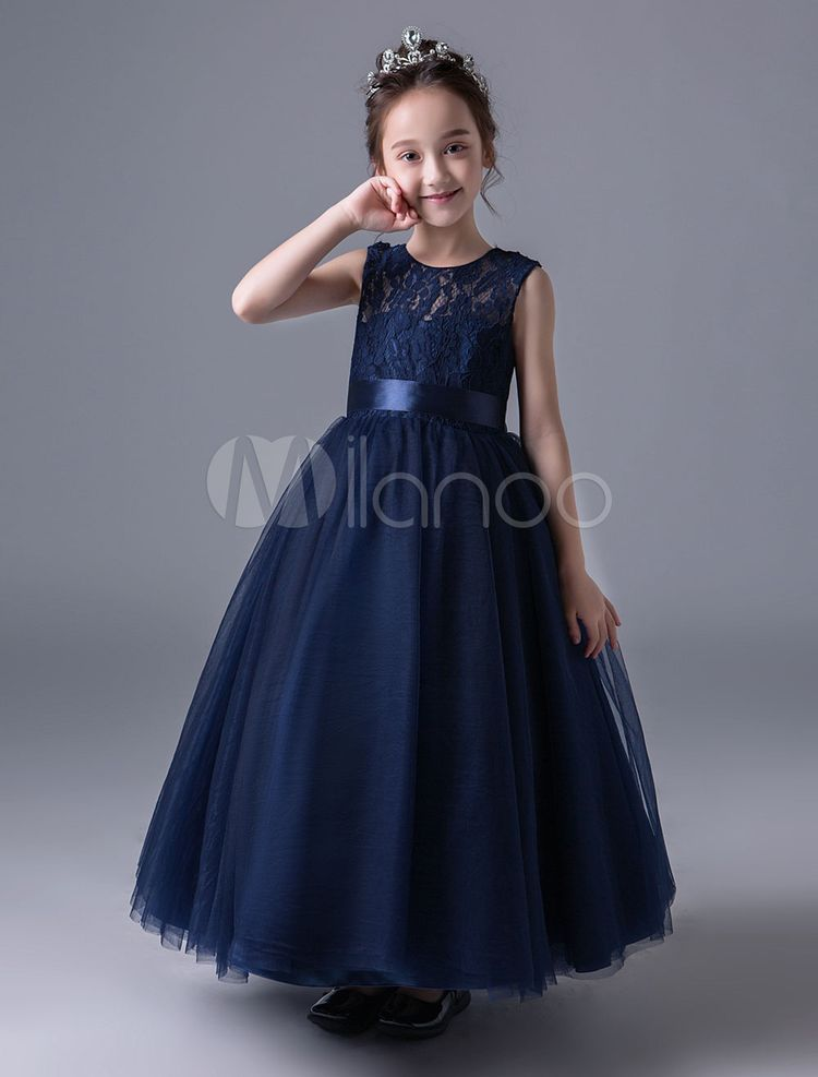 b20844bd732 Flower Girl Dresses Dark Navy Lace Princess Pageant Dress Little Girls  Sleeveless Ankle Length Kids Formal Party Dresses  Lace
