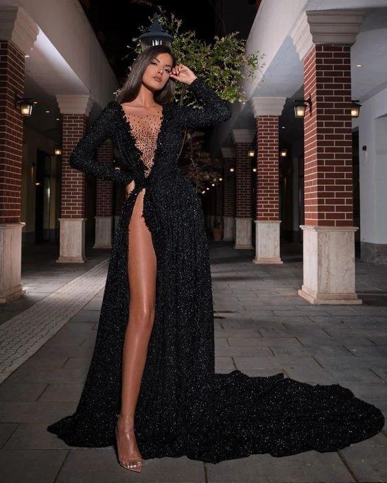 Black Long Prom Dress, Popular Evening Dress ,Fashion Wedding Slit Par – shinydress