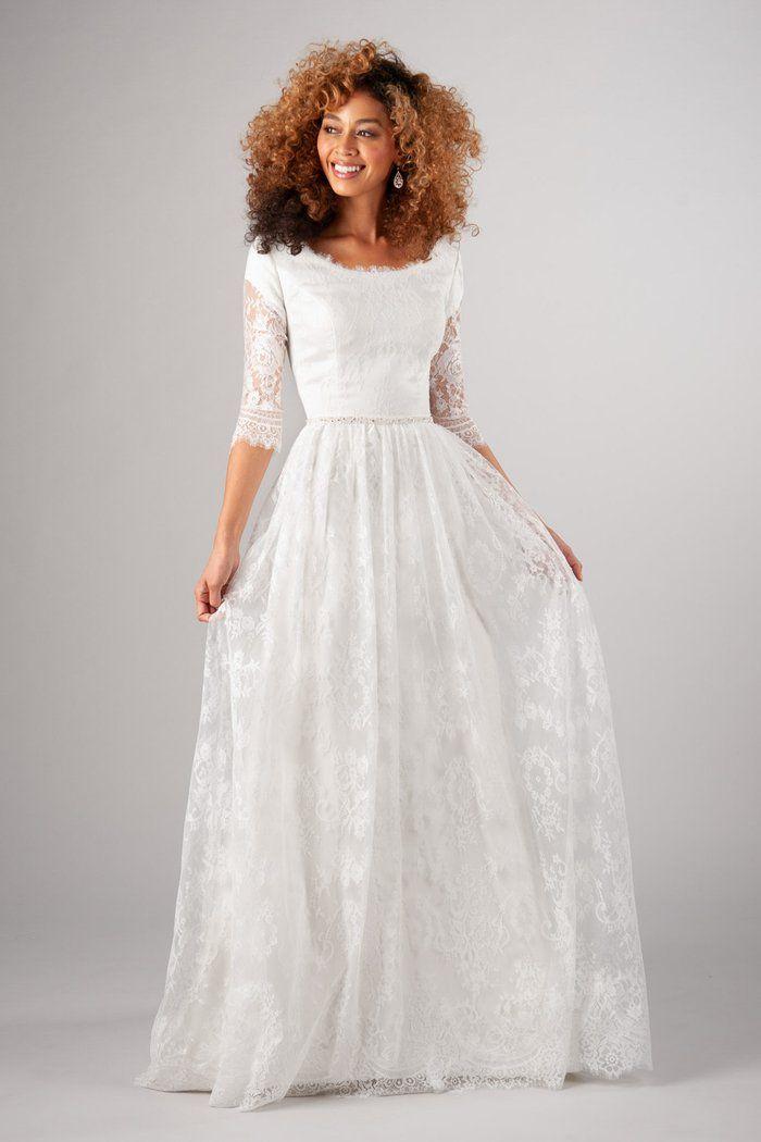 d15276f4a94 Modest wedding dress with soft boat neckline