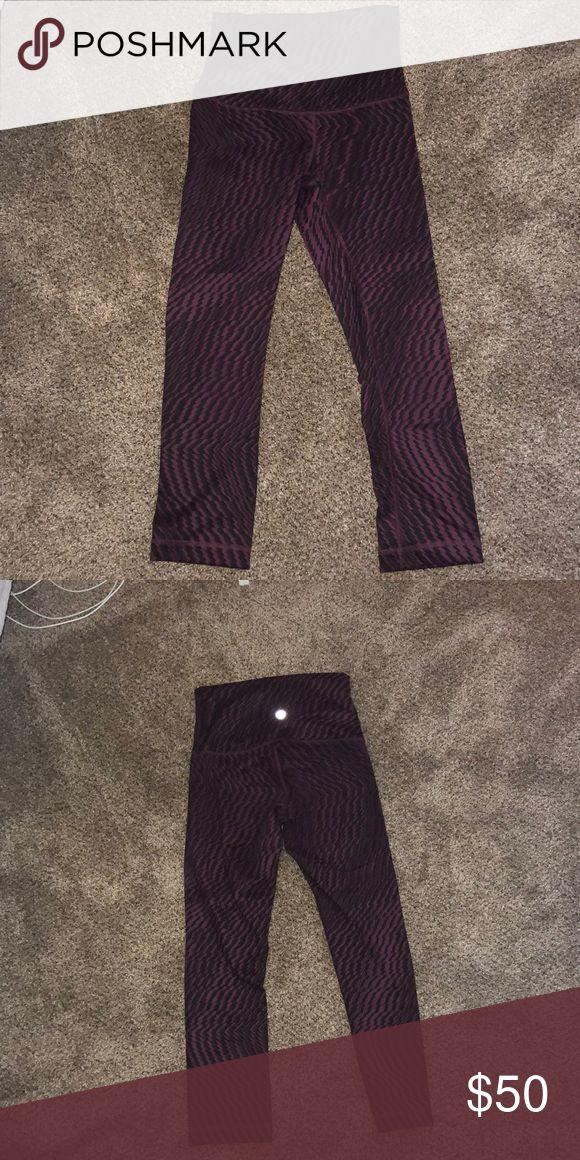 8fcf0de7c5 lulu lemon crop leggings Maroon and purple print crop leggings lululemon  athletica Pants Ankle & Cropped