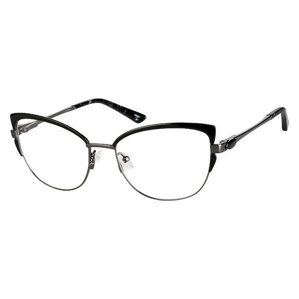 dfc1b51be777 Zenni Womens Vintage Cat-Eye Prescription Eyeglasses Black Tortoiseshell  Stainless Steel 329421