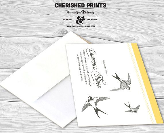 Soaring Sparrows Personalized Thank You Cards, Sympathy Th