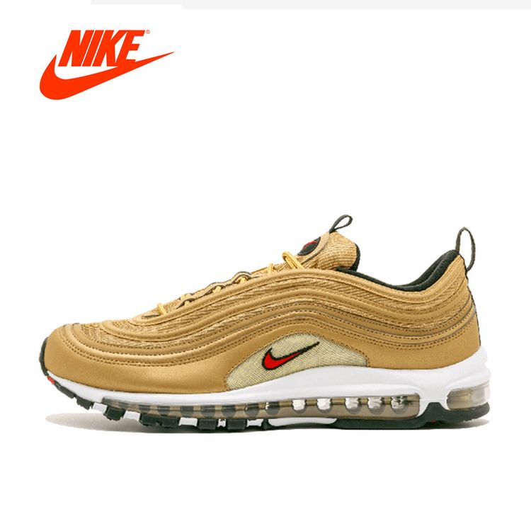 b070e8a11204 Original New Arrival Official NIKE AIR MAX 97 Metallic Gold Breathable Men s  Running Shoes Sports Sneakers