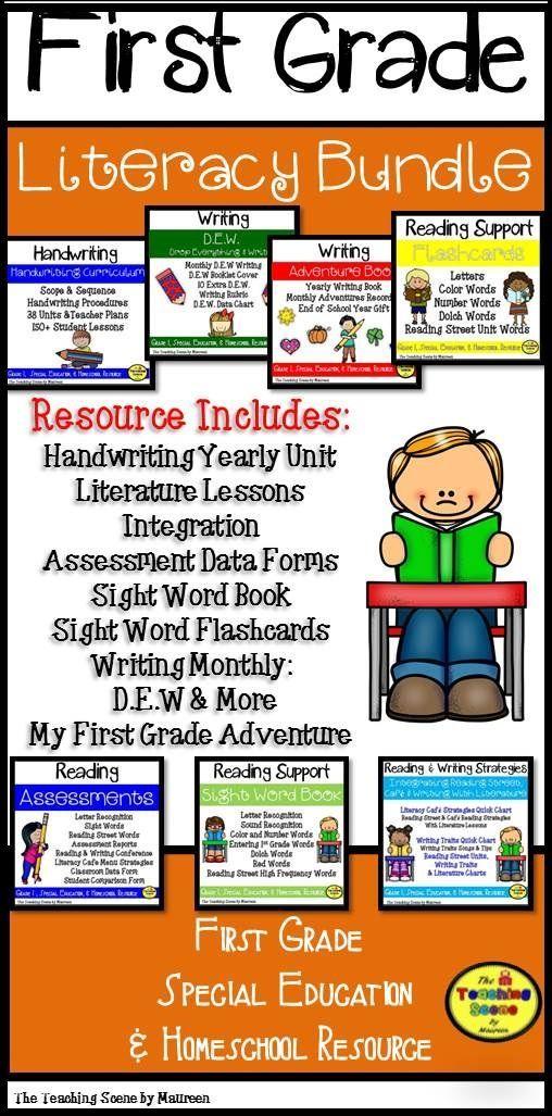 1st Grade Literacy Bundle  Resource includes Handwriting: