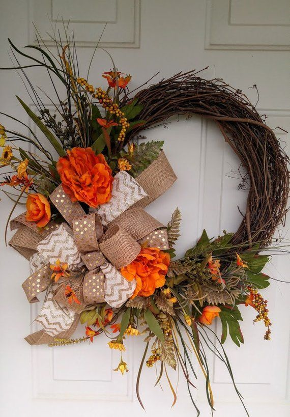 Fall Grapevine Wreath Front Door Thanksgiving Autumn With Large Bow Orange Peon