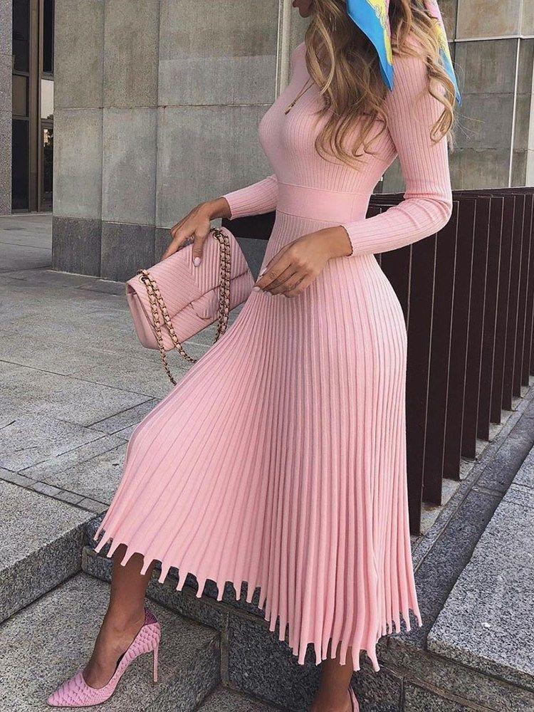 Nine Points Sleeve Mid-Calf Pleated Standard-Waist Pleated Womens Dress