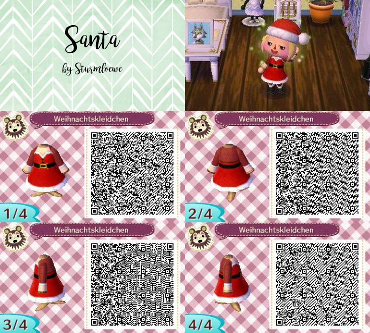 Animal Crossing New Leaf Qr Code Cute Santa Christmas Dress Outfit Red Winter Acnl Design By Sturmloewe