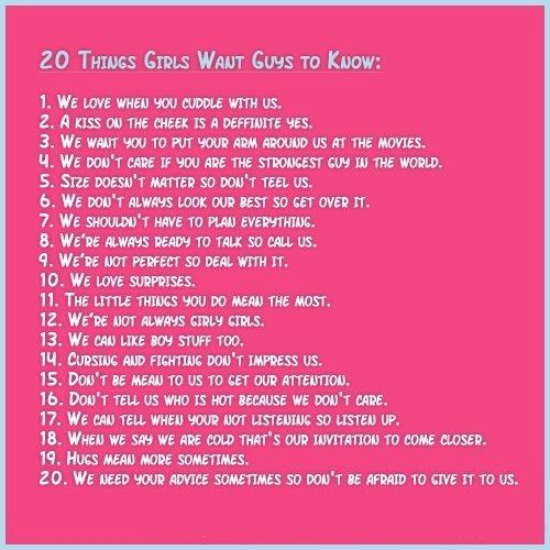 20 Things Girls Want Guys To Know Love Quotes Quotes Quote