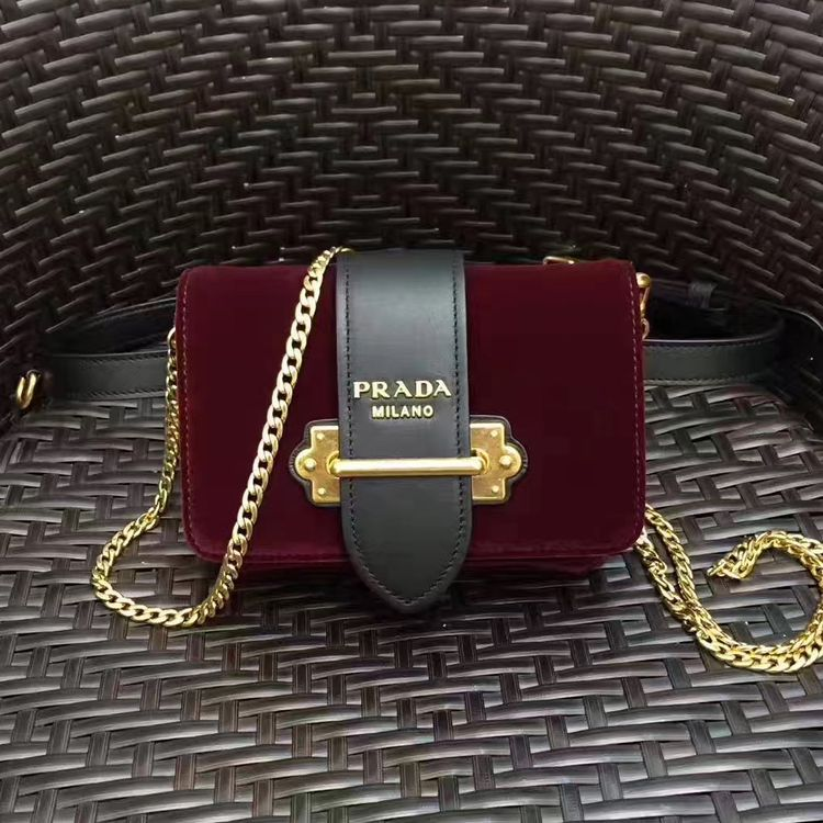 84da2b8843c6 Prada Cahier Velvet and Calf Leather Fanny Pack Bag 1BL004 Burgundy 2017