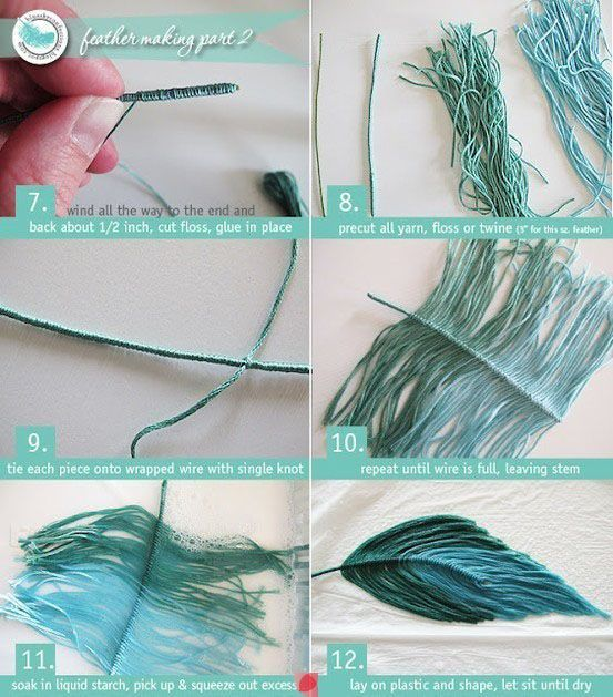 Making a feather from threads.