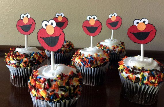 Elmo Party Cupcake Toppers Birthday Baby Shower 1st Cup