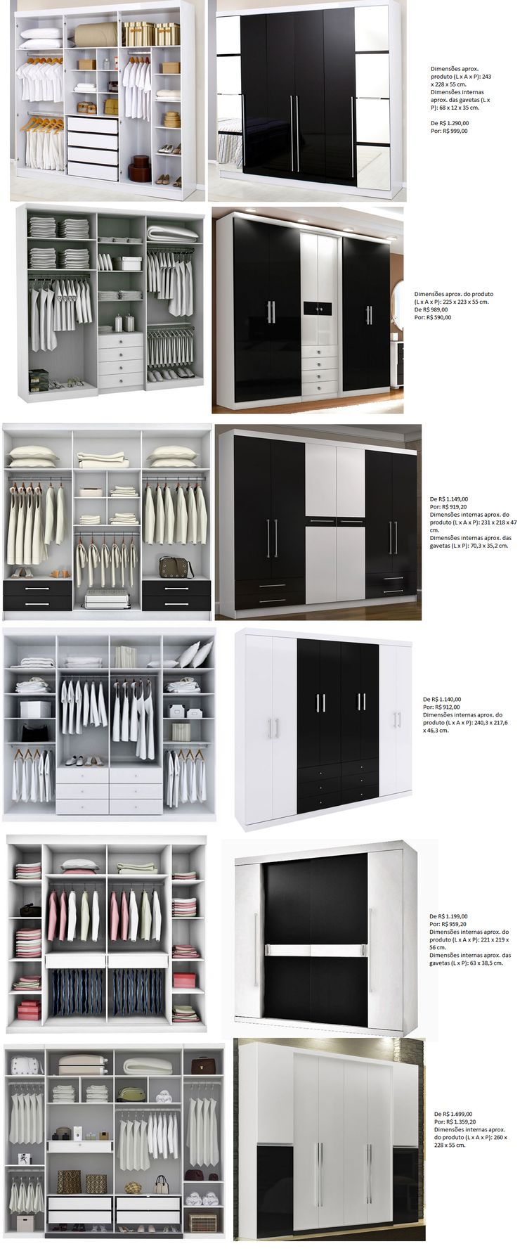 dimensions for half height and full height hanging spaces. Black Bedroom Furniture Sets. Home Design Ideas