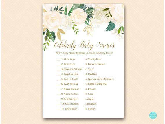 blush and gold baby shower games celebrity baby name game babyshowerideas4u birthdayparty babyshowerdecorations