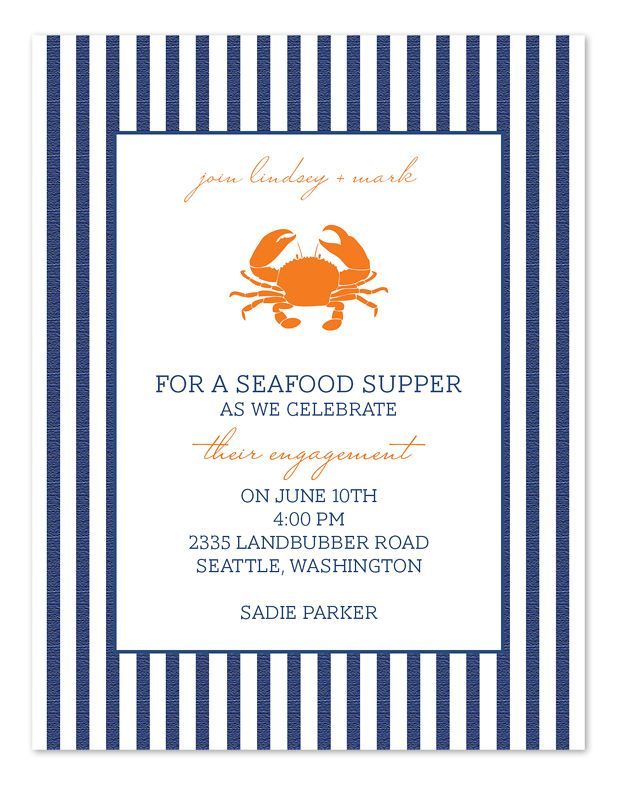 Seafood Supper Party Invitations