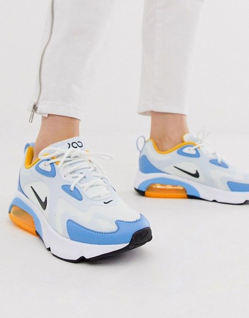 Nike White And Blue Air Max 200 Trainers