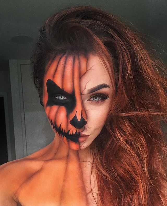 Waiting for Halloween be like  _____  Pumpkin: @mehronmakeup paradise Black and orange @morphebrushes 35N pallet  Face: @urbandecaycosmetics Naked Skin @anastasiabeverlyhills Contour Kit  Eyes: #morphebrushes 35N pallet  Lashes: @hudabeauty Lana  Brows: #anastasiabeverlyhills Dipbrow pomade in Dark Brown  Lips: @anastasiabeverlyhills liquid lipstick Ashton _____ #withlovenadia #halloween #makeupartist #hudabeauty #morphebrushes #morphe #morphebabe #abhhalloween #anastasiabeverlyhills #urbandecay