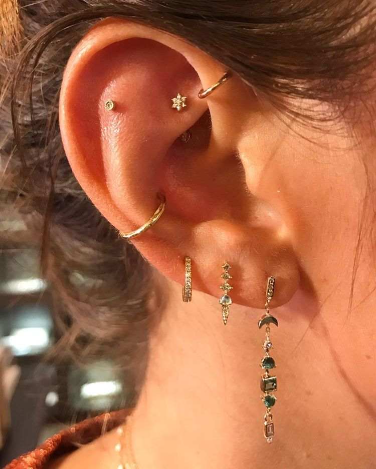0.1ct Genuine Natural Rhodolite Garnet Solid Gold Cartilage Conch Helix Lobe Piercing Earring-18g 1pcs