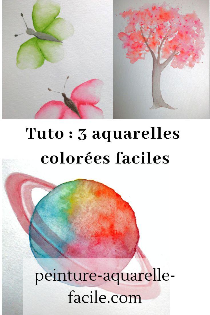 Tuto aquarelle : 3 aquarelles colorées faciles et rapides à réaliser : papillons, arbre et planète