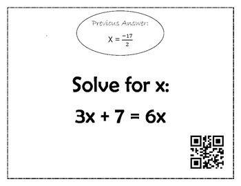 Solving Equations Scavenger Hunt Qr Code