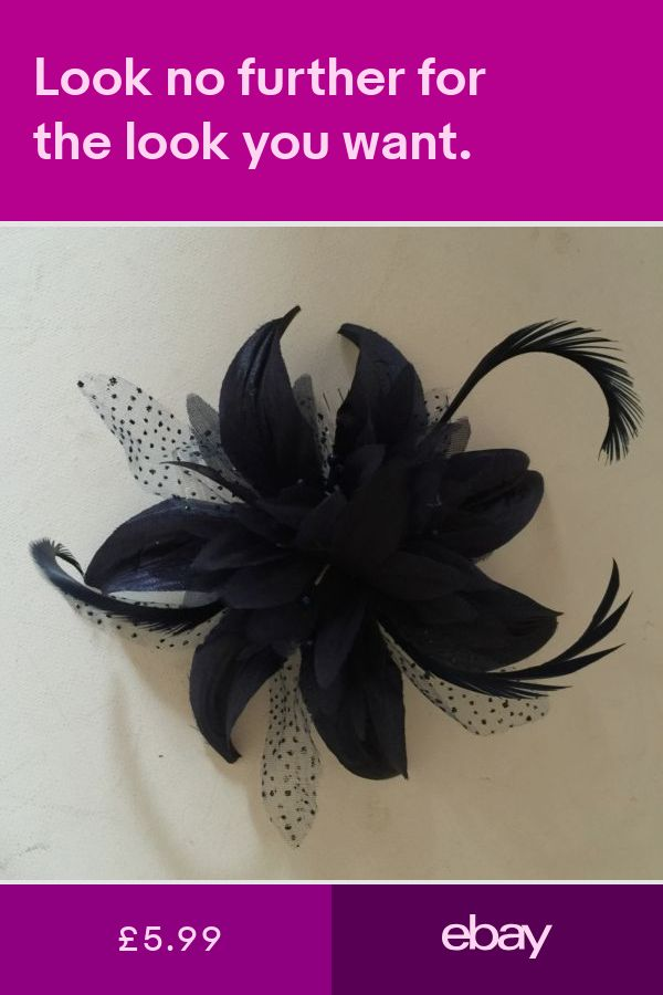 WomensGirls Navy Hair Flower feather Fascinator On Comb Weddings Races Proms 27cf0940b41