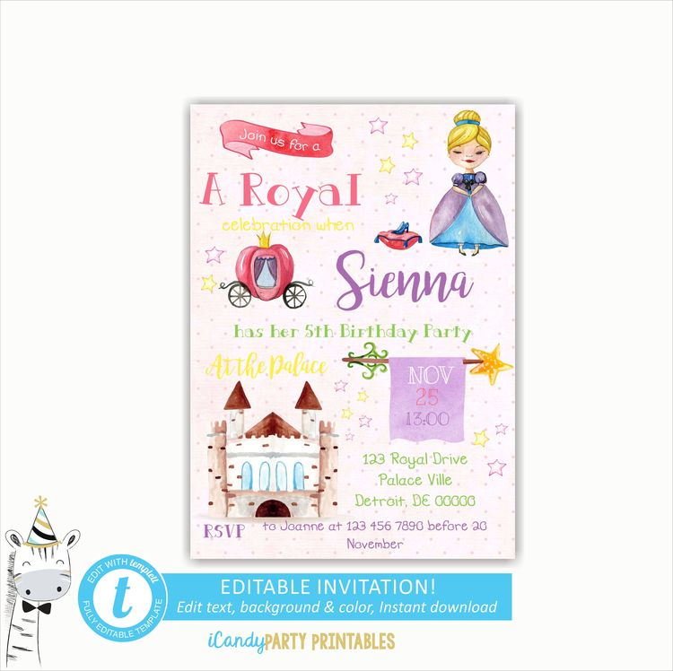 Princess Invitation Birthday Party Invitations Editable