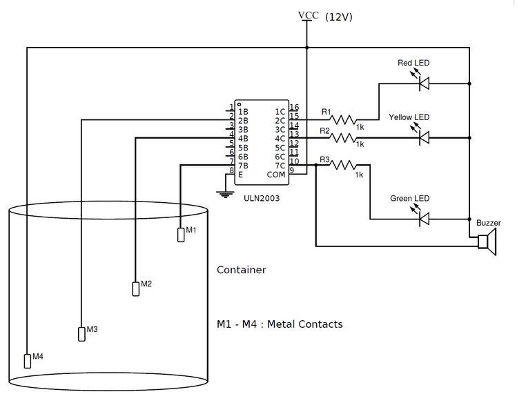Numeric Water Level Indicator Circuit Diagram | Numeric Water Level Indicator Liquid Level Sensor Circuit