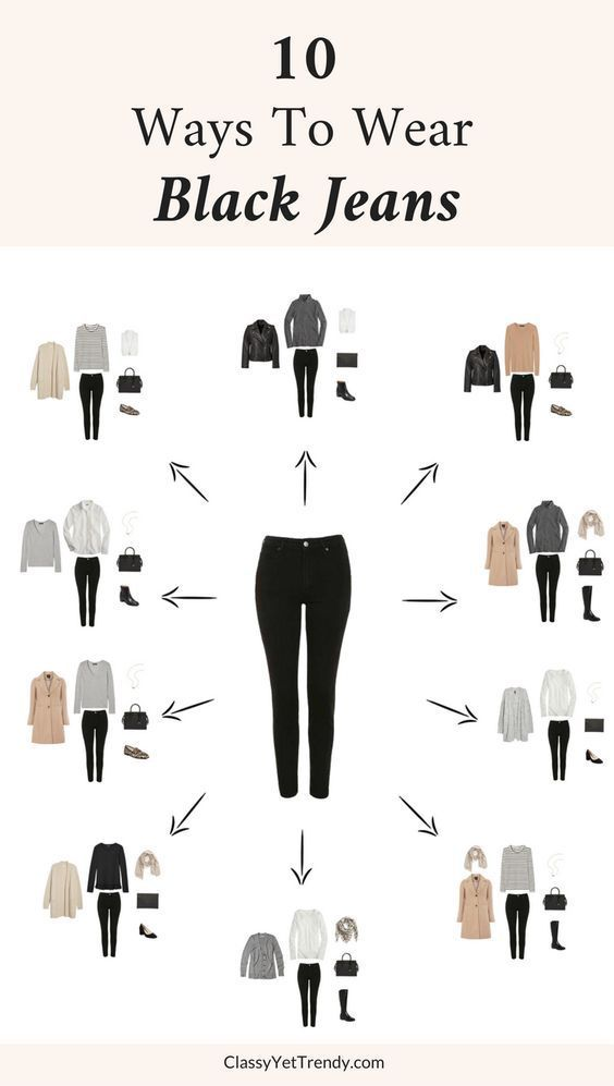 10 Ways To Wear Black Jeans - Black Jeans is one of the most versatile items in your closet. This one pair of jeans can be worn so many ways! Black jeans (like this budget-friendly pair) can be worn in casual outfits with a this side tie tee and these velvet sneakers or can be dressed up with a crisp white button-up shirt layered under a grey sweater. See 10 outfit ideas using these jeans.