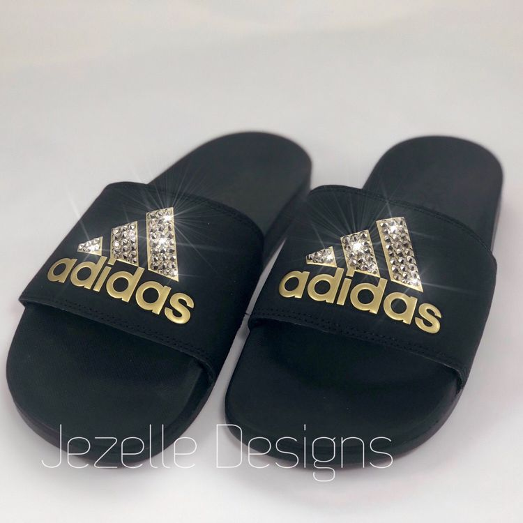 d80bc43a49b4 Black Gold Adidas Slide Sandals Custom Hand Jeweled w  Genuine Swarovski  Crystals - Bling Slides Vegas Golden Knights NHL VGK colors