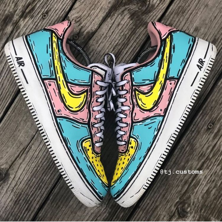 Cartoon Air Force 1s  Rate these! Cop or Drop? Follow @kickzincolor for more!  : @tj.customs