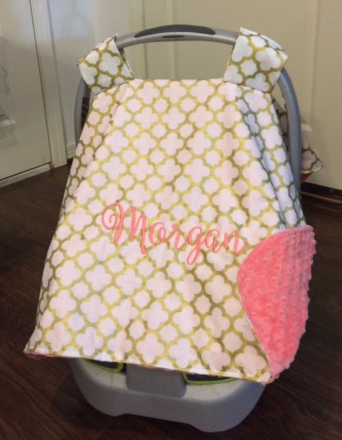 Baby Infant Carrier Girl Canopy Car Seat Gold Coral Minky Monogram Personalized Gift By CustomThreadsShop On
