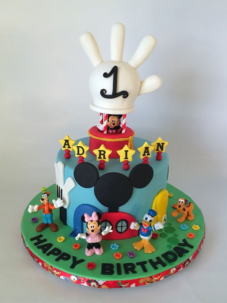 Disneys Mickey Mouse Clubhouse 1st Birthday Cake With Hot Air Ballon Topper