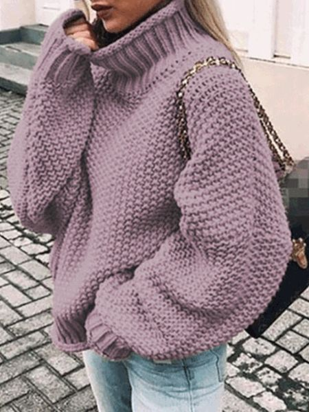 Female Roll Side High Collar Bat Sleeve Sweater – linenlooks  outfit sweater,sweater outfit ideas,  tunic sweater outfits,knitwear fashion  #sweatersoutfits #sweaterstylesoutfits #outfitsweater