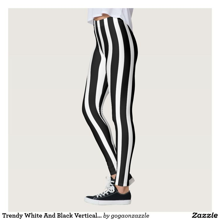 60ee8298410e6 Trendy White And Black Vertical Stripes Leggings   Zazzle.com