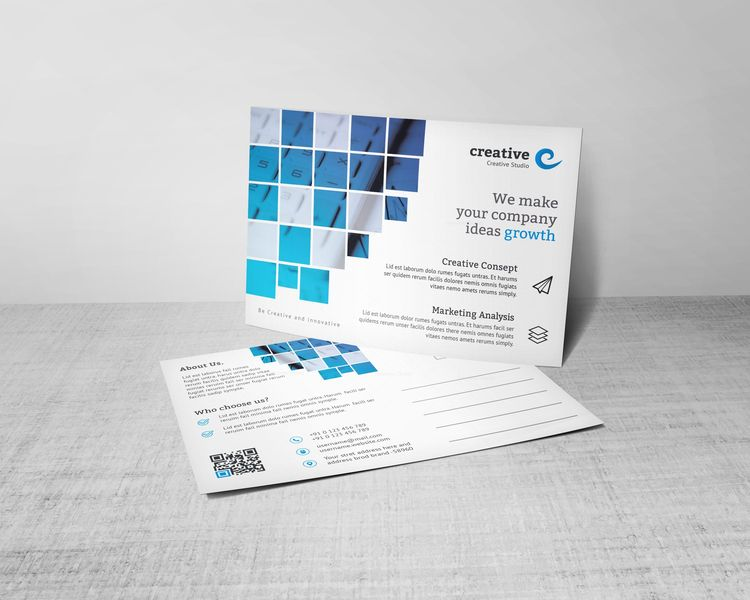 Creative Corporate Postcard Template with Square Shapes - Graphic Templates