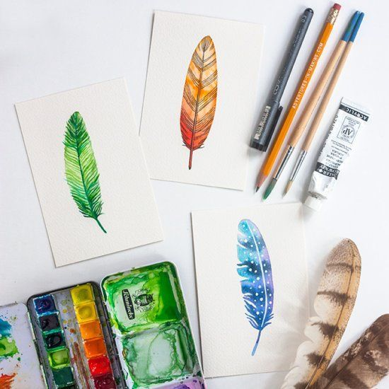Learn to paint a watercolor feather with this simply step-by-step process. A great resource f...