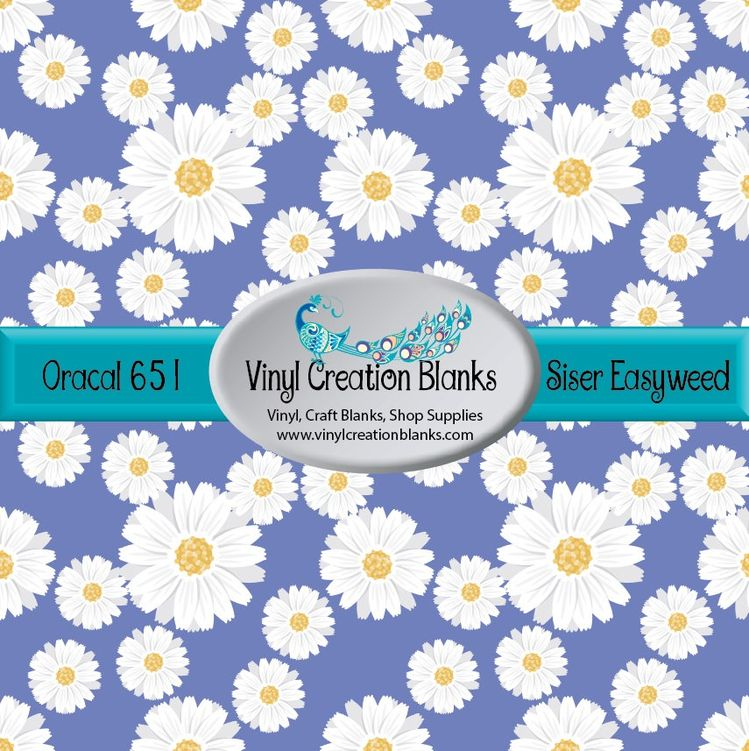 Daisies Pattern Printed Vinyl on Periwinkle Background, Pri