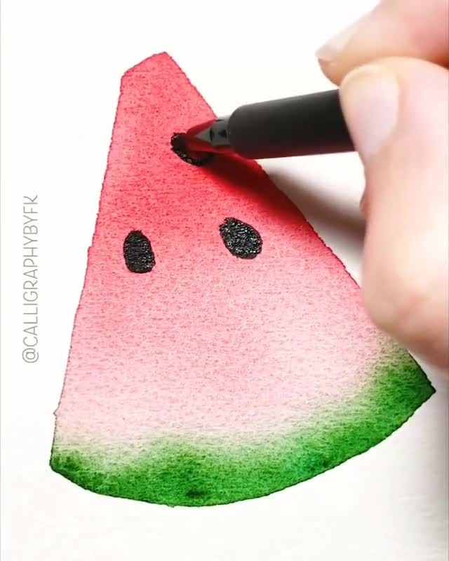 Looks yummy.😋 Would you take a bite?  By @calligraphybyfk 💫  Release your creativity with a BONUS eBook Library by buying NIL Tech Pencil Set, just click ➡️THE WEBSITE LINK  Looks yummy.😋 Would you take a bite?  Follow us on: 👉FB /NiLTechClub🎨 👉IG @love_to_draw_nil 🎨 👉Twitter @LoveToDrawNIL  👉Pinterest @NiLTechArt ✔️For More Great works ✔️Chance to get featured  #art #love #drawing #draw ##pencil #beautiful #niltech #watercolor #watercolour #tasty #fruit