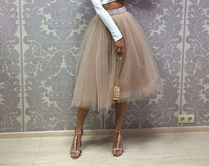 Dusty rose wedding tulle skirt women