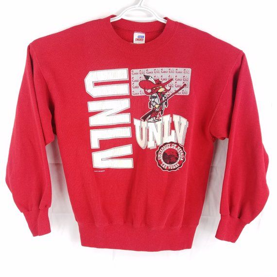 Vintage UNLV University Las Vegas Rebels Red Crewneck Sweatshirt 1a4bad893cddd
