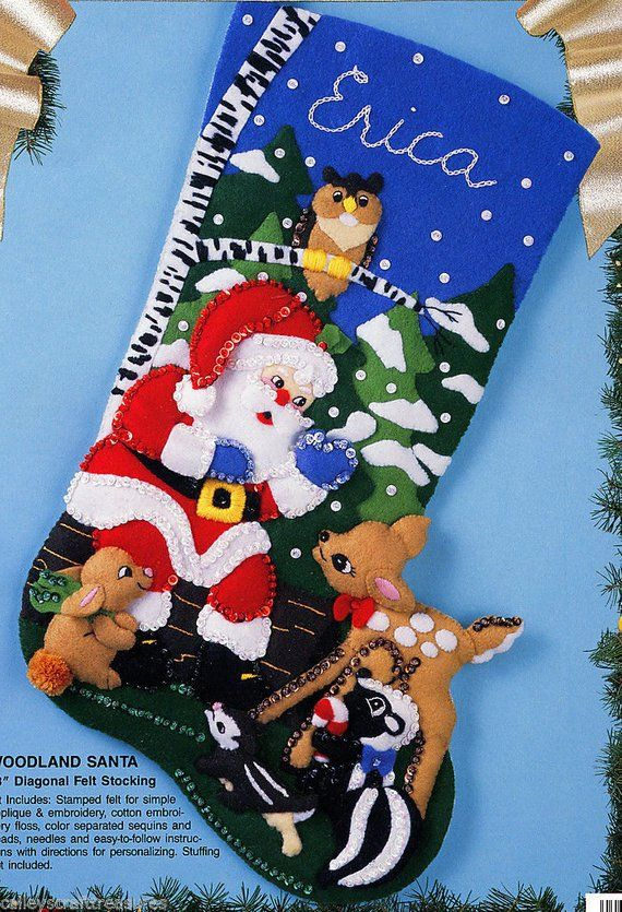 Bucilla Woodland Santa 18 Felt Christmas Stocking Kit