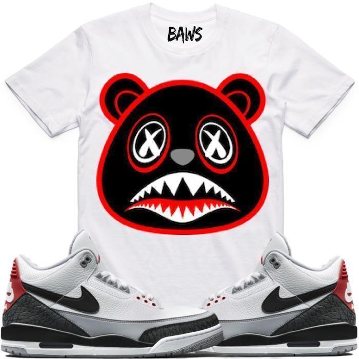 aefd2b7f7de BRED BAWS White Sneaker Tees Shirt - Jordan 3 Tinker