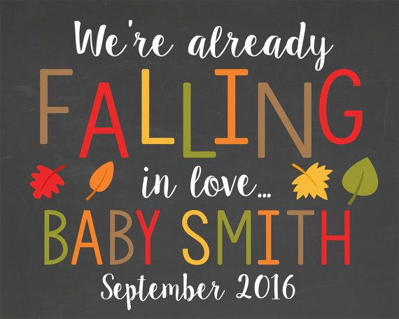 Fall Pregnancy Announcement Chalkboard Printable File