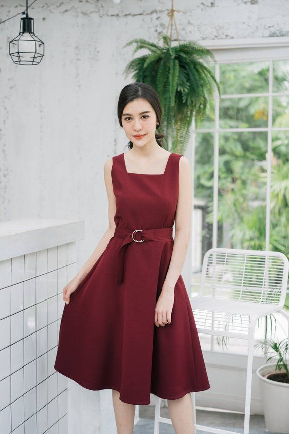 fc994c70e8e Baverly - Open Back Dark Red Dress Burgundy Dress Long Party Dress Vintage  Modern Swing Dance Dress Bridesmaid Dress