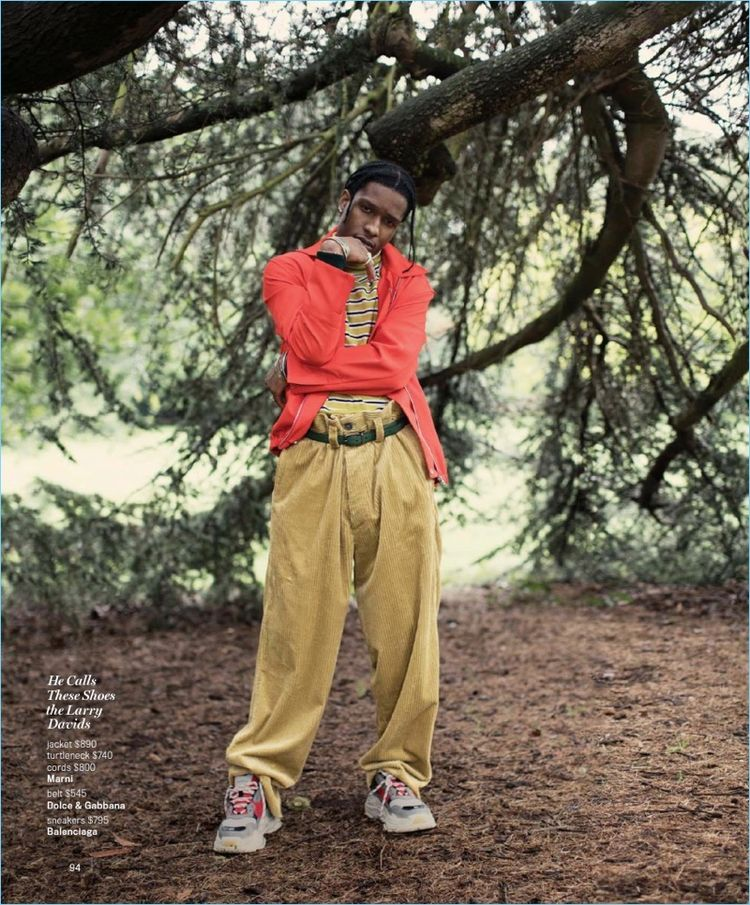 964a6b7a Embracing an oversize look, A$AP Rocky wears Marni clothes. He accessorizes  with