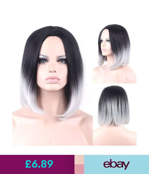 Hair Extensions Wigs Ombre Black Gray Straight Short Bob