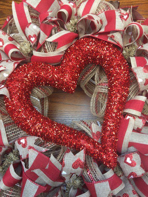 Happy Valentine S Day Deco Mesh Wreath Heart Wreath Rusti