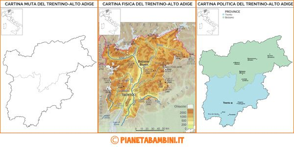 Cartina Muta Fisica E Politica Del Trentino Alto Adige Da