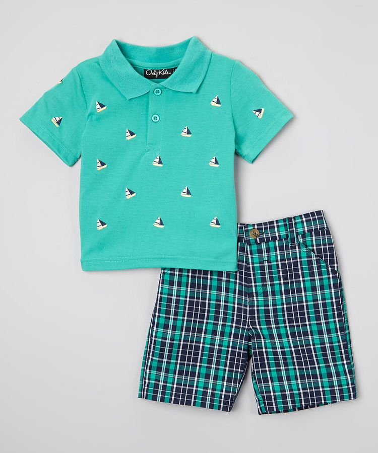 3d7bbdf2b Look at this Sea Foam Green Sailboat Polo & Plaid Shorts - Infant & Toddler  on #zulily today!