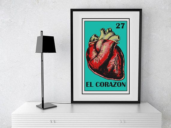 image about Loteria Printable called El Corazon loteria card, Mexican Loteria Printable, Mexica